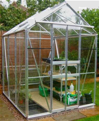 Aluminium Greenhouse 18 - Silver, Double Door