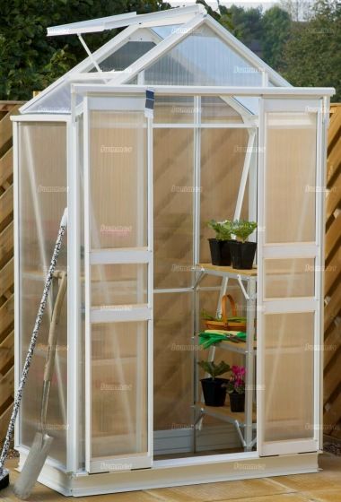 Grey Aluminium Greenhouse 111 - Polycarbonate, Double Door