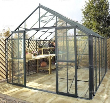 Large Green Aluminium Greenhouse 192 - Toughened Glass