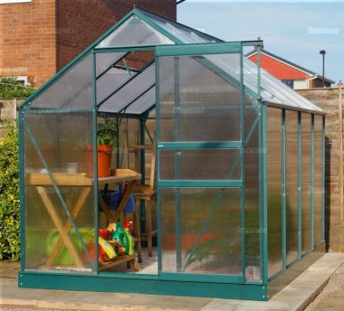 Aluminium Greenhouse 014 - Green, Polycarbonate, Base Included