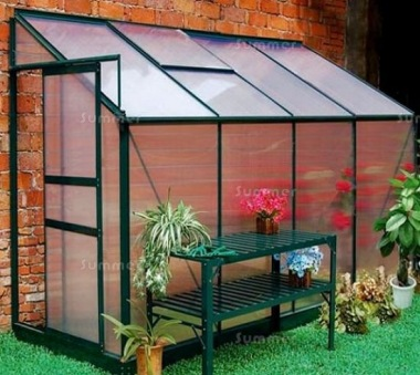 Aluminium Lean To Greenhouse 045-4 - Green, 4mm Polycarbonate