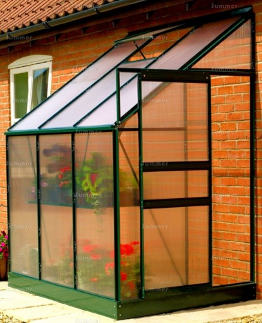 Aluminium Lean To Greenhouse 045 - Green, Polycarbonate