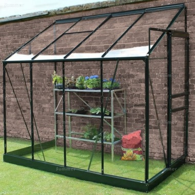 Aluminium Lean To Greenhouse 145 - Green, Toughened Glass