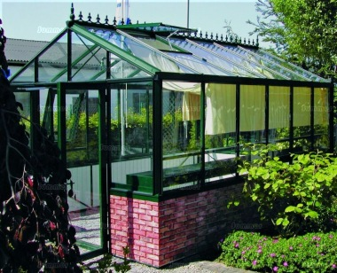 Large Dwarf Wall Aluminium Greenhouse 39 - Box Section