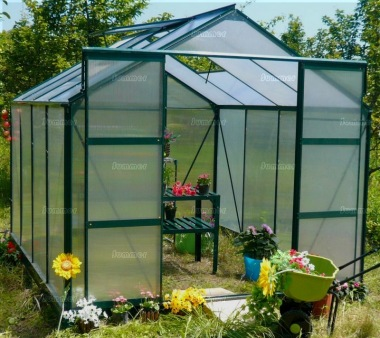 Aluminium Greenhouse 06 - Green with Polycarbonate