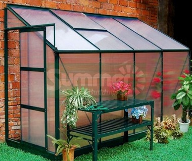 Aluminium Lean To Greenhouse 34 - Green with Polycarbonate