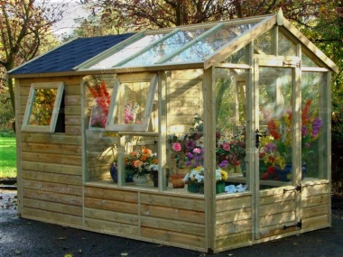 Pressure Treated Greenhouse 682 - Built In Shed