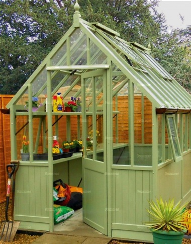 Malvern Victorian Painted Cedar Greenhouse - Part Boarded