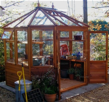 Malvern Suntop Octagonal Greenhouse - Part Boarded