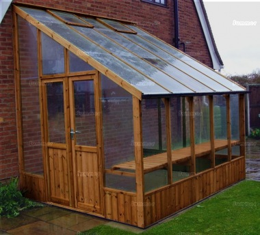 Thermowood Lean To Greenhouse 206 - Toughened Glass