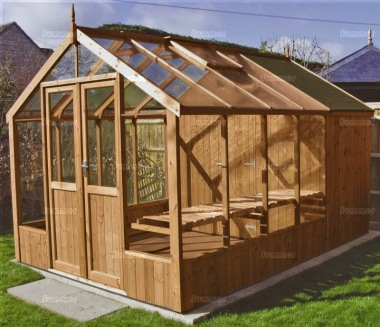 Thermowood Wooden Greenhouse 217 - Built In Shed