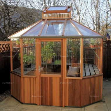 Alton Octagonal Greenhouse 8x8 - Cedar, Part Boarded