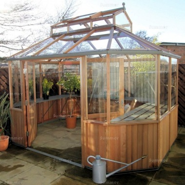 Alton Octagonal Greenhouse 11x8 - Cedar, Part Boarded