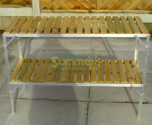 GREENHOUSES - Staging 2 tier wooden slatted