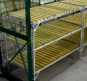 GREENHOUSES - Staging 3 tier wooden slatted