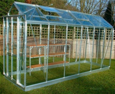 Grey Aluminium Greenhouse 11 - Double Door