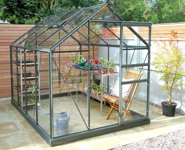 Aluminium Greenhouse 13 - Green, Toughened Glass