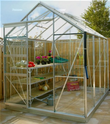 Grey Aluminium Greenhouse 15 - Extra Tall High Eaves