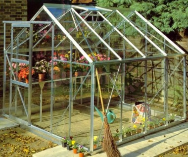 Aluminium Greenhouse 171 - Silver, Base Included