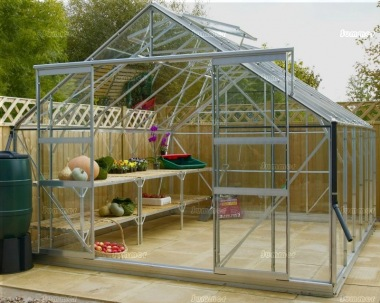 Large Grey Aluminium Greenhouse 523 - Double Door