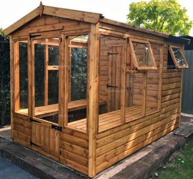 Wooden Greenhouse 154 - Built In Shed, Toughened Glass