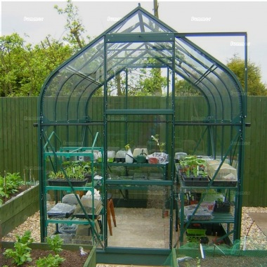 Aluminium Greenhouse 138 - Green, Curved Eaves