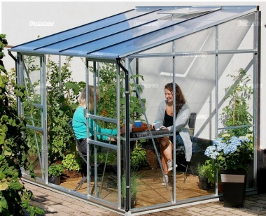 Aluminium Lean To Greenhouse 167 - Double Door, Polycarbonate Roof
