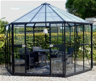 Aluminium Hexagonal Greenhouse 177 - Double Door, Polycarbonate Roof