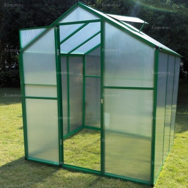 Aluminium Greenhouse 026 - Green, Box Profile, Clip Free, Easy-Fit