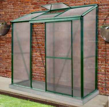 Aluminium Lean To Greenhouse 310 - Polycarbonate, Green Finish
