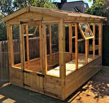 Wooden Greenhouse 182 - Toughened Glass Roof, Staging Included
