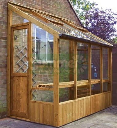 Thermowood Lean To Greenhouse 201 - Toughened Glass