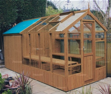 Thermowood Wooden Greenhouse 213 - Built In Shed