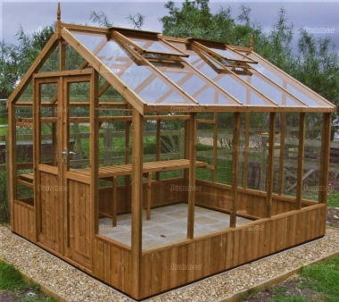Thermowood Greenhouse 215 - Toughened Glass, Double Door
