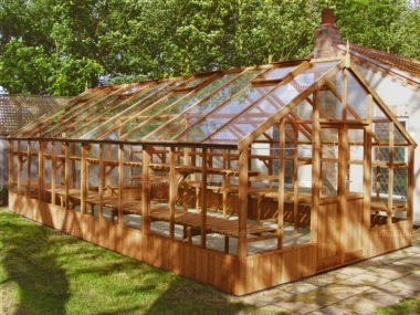 Large Thermowood Greenhouse 220 - Toughened Glass